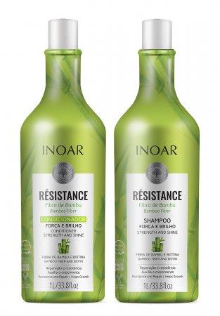 Inoar Resistance Bambu DUO PACK, wegański szampon + odżywka do włosów osłabionych, 2x1l