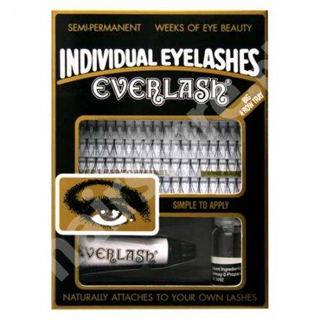 Everlash, kępki rzęs średnie 80 szt, zestaw z klejem i zmywaczem