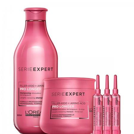 Loreal Pro Longer, zestaw do długich włosów z szamponem, maską i koncentratami, 300ml + 250ml + 3x15ml