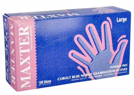 Maxter, rękawiczki nitrylowe, niebieskie, rozmiar L, 100 sztuk