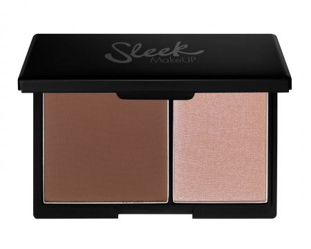 Sleek Makeup Face Contour Kit, paleta do konturowania 2 w 1 bronzer+rozświetlacz, Light