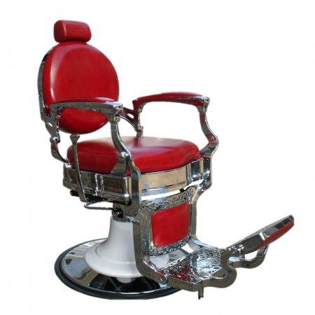 Fox Barber, fotel barberski, fryzjerski, czerwony