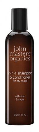 John Masters Organics, szampon do włosów przetłuszczających się i z łupieżem, Cynk i Szałwia, 236ml