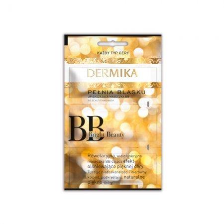Upiększająca maseczka do twarzy BB, Bright Beauty Dermika Pełnia Blasku, 3x2ml - oderwana jedna z części maseczki