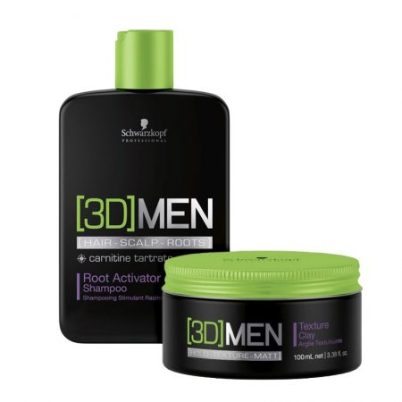 Schwarzkopf 3DMen, zestaw szampon na porost + glinka, 250ml+100ml