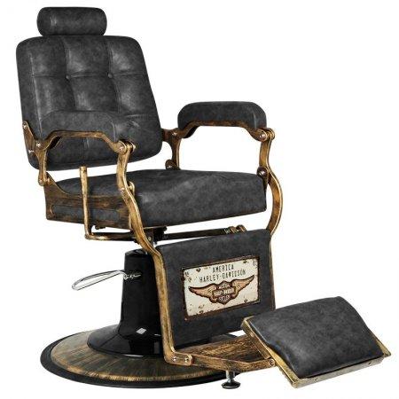 Fotel barberski Gabbiano Boss, HD old leather czarny