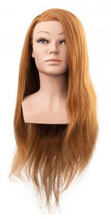 Efalock, główka treningowa Mila, włosy ludzkie, jasny brąz, 60cm