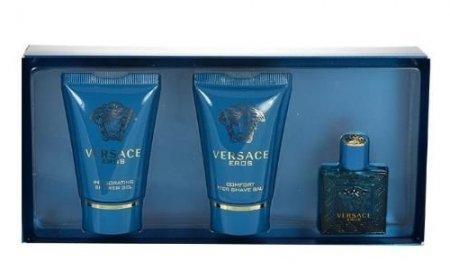 Versace Eros, zestaw perfum edt 5ml + 25ml żel pod prysznic + 25ml balsam po goleniu (M)