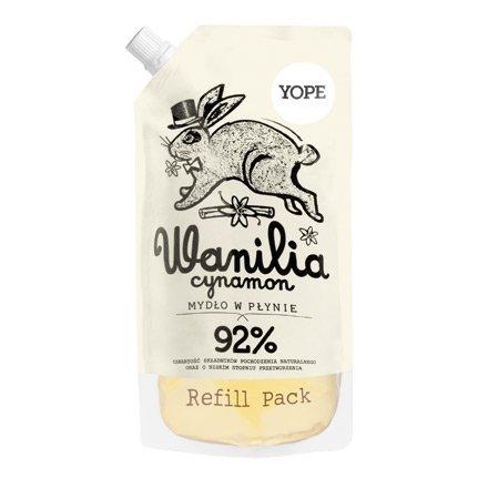 Yope, mydło w płynie, wanilia i cynamon, refill pack, 500ml