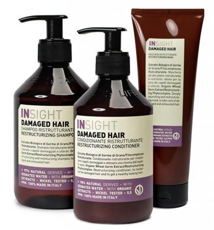 InSight Damaged Hair, zestaw do włosów zniszczonych, 400ml + 400ml + 250ml