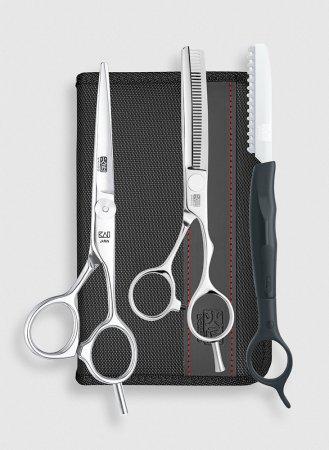 """Zestaw stylisty Kasho Design Master 6.0"""", nożyczki + degażówki + nóż chiński"""