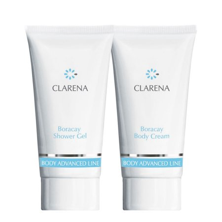 Clarena Advanced Body Line Boracay, mini zestaw do skór suchych, Body Cream 30ml+Shower Gel, 30ml
