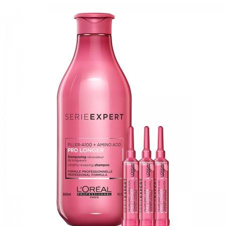 Loreal Pro Longer, zestaw do długich włosów z szamponem i koncentratami, 300ml + 3x15ml