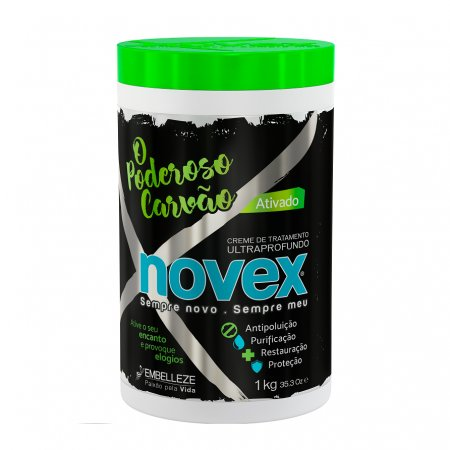 Novex Powerful Charcoal, maska do włosów z aktywnym węglem, 1000g