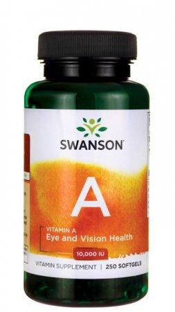 Swanson, witamina A 10.000IU, 250 kapsułek miękkich