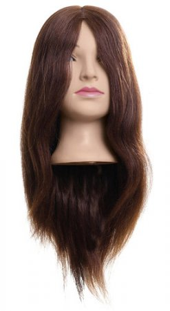 Efalock, główka treningowa Lina, włosy naturalno-syntetyczne, brązowe, 50cm