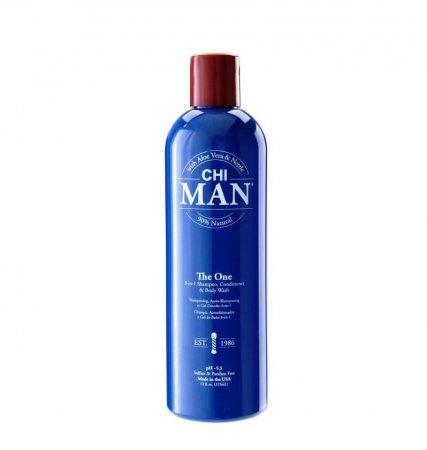 CHI Man The One 3w1, szampon, odżywka, żel pod prysznic, 355 ml