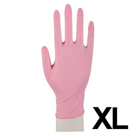 Abena, rękawiczki nitrylowe bezpudrowe, rozmiar XL, różowe, 100 sztuk