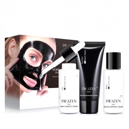 Pilaten, zestaw do pielęgnacji twarzy (export liquid, czarna maska, tonik)