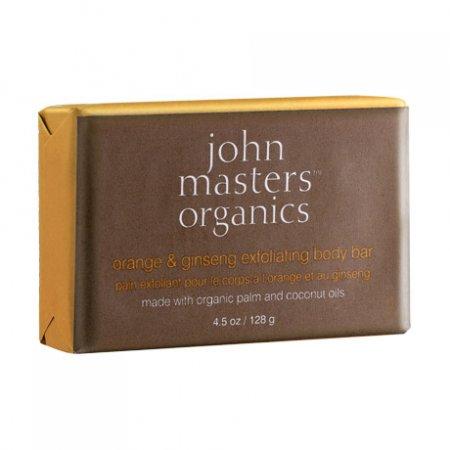 John Masters Organics, mydło złuszczające z pomarańczą i żeń-szeniem, 128g