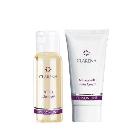 Clarena Poison Line, mini zestaw przeciwstarzeniowy do pielęgnacji twarzy, 30ml+15ml